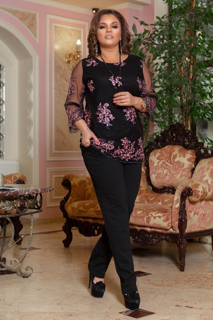 Нарядный брючный костюм женский Креп дайвинг и вышивка на сетке  Размер 48 50 52 54 56 58 В наличии 2 цвета
