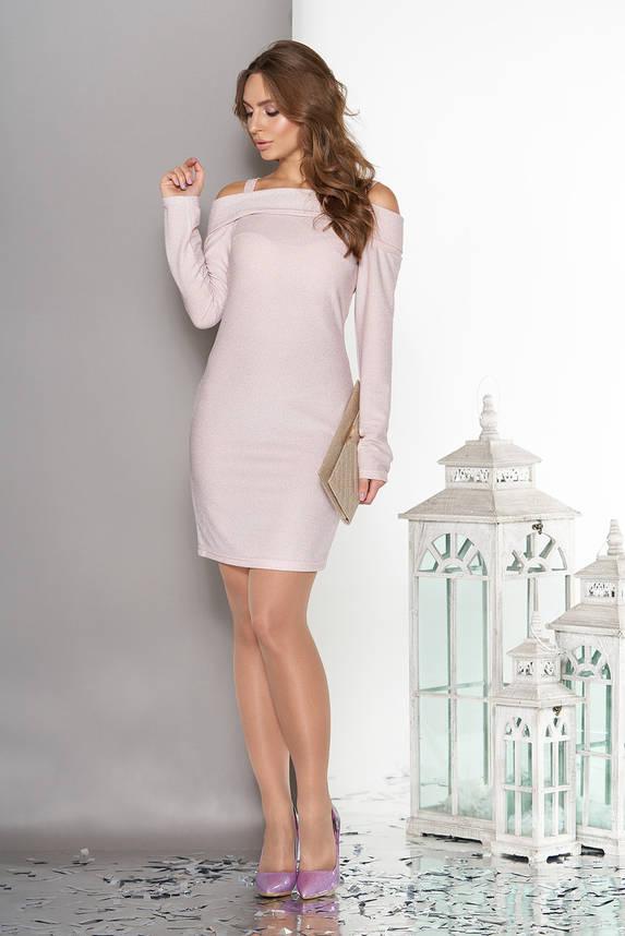 Красивое платье с открытыми плечами розовое, фото 2