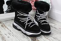 Ботинки зимние Magenta с опушкой черные со шнуровкой. Натуральный замш, фото 1