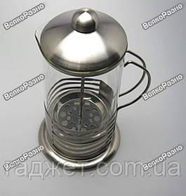 Стеклянный заварочный чайник с поршнем 600 мл. (стальная оправа)