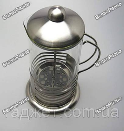 Стеклянный заварочный чайник с поршнем 600 мл. (стальная оправа), фото 2