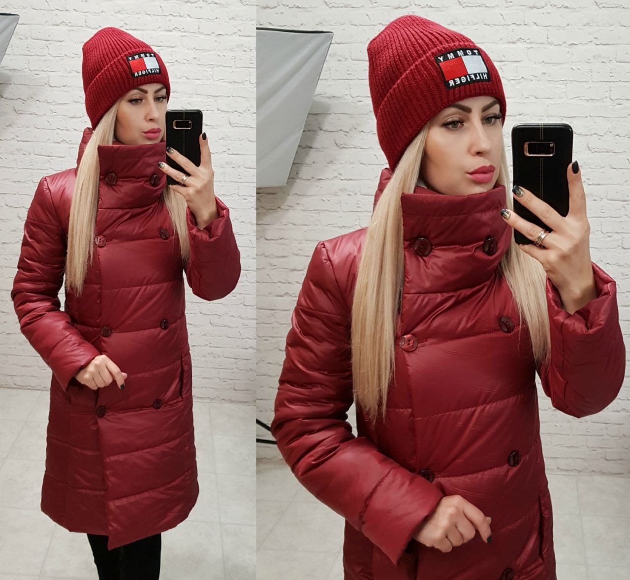 Куртка пальто, модель 1002 п/батал, цвет - марсала (бордо)