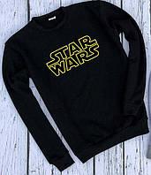 Теплый мужской свитшот Star Wars модный трикотаж с надписью (черный)
