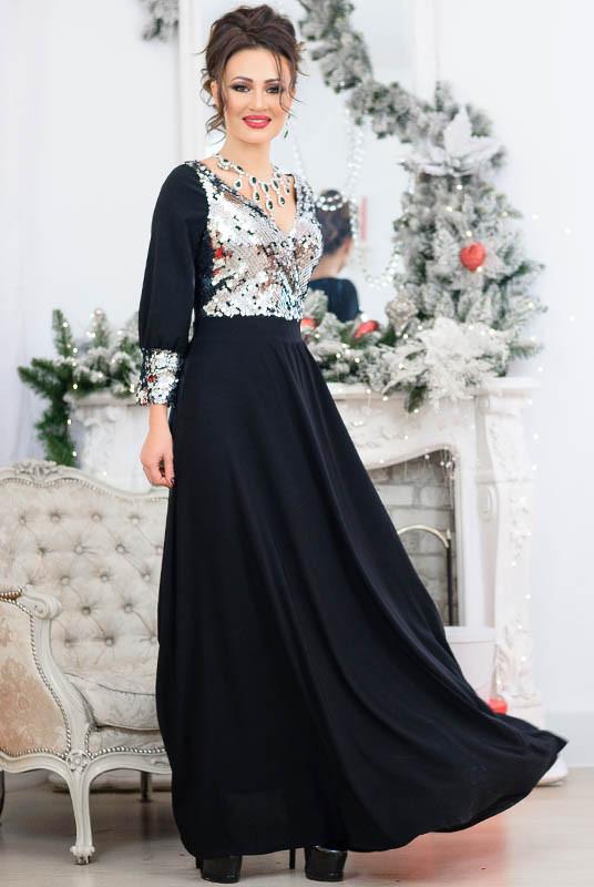 Черное платье с серебряными пайетками Жасмин