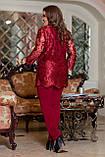 Вечерний брючный костюм женский Удлиненная блуза прямого кроя Размер 48 50 52 54 56 58 В наличии 3 цвета, фото 2