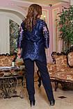 Вечерний брючный костюм женский Удлиненная блуза прямого кроя Размер 48 50 52 54 56 58 В наличии 3 цвета, фото 4