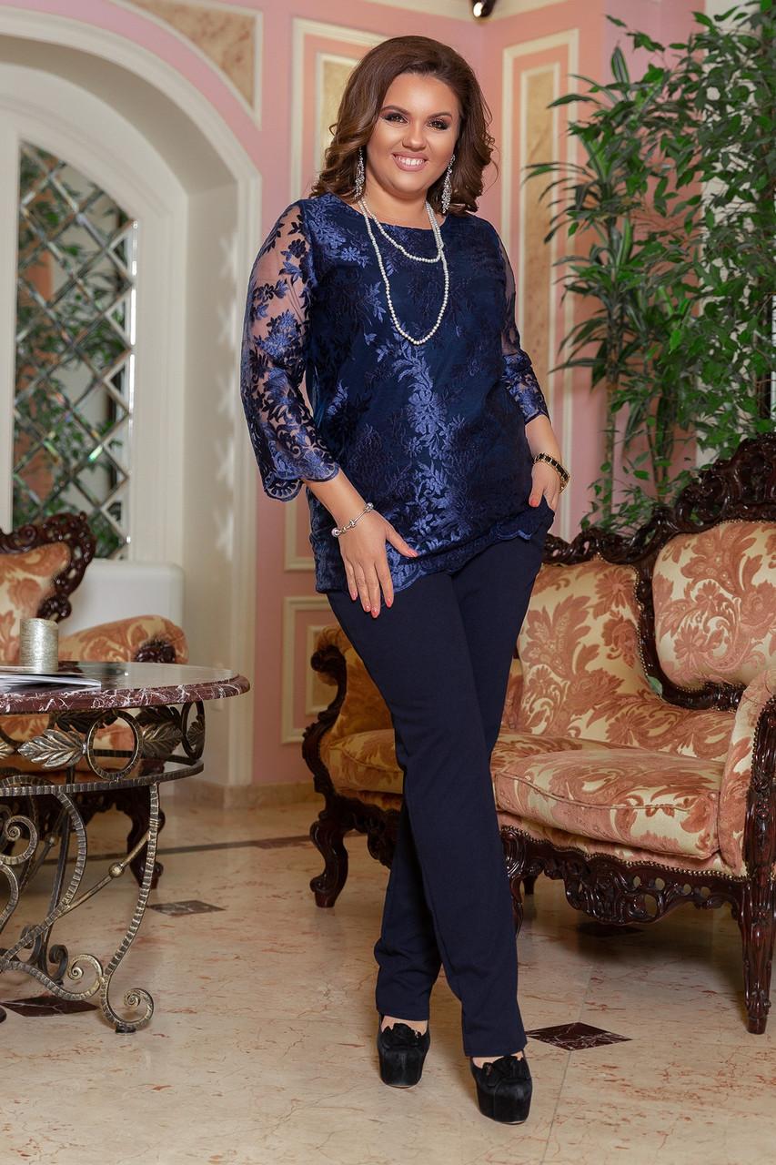 Вечерний брючный костюм женский Удлиненная блуза прямого кроя Размер 48 50 52 54 56 58 В наличии 3 цвета