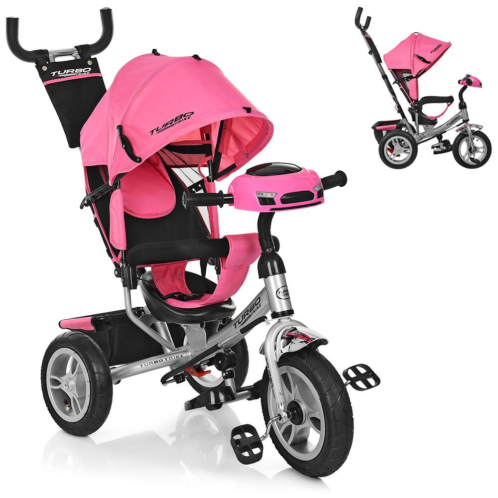 Трехколесный велосипед колясочного типа на надувных колесах (диаметр 12/10) с фарой, Turbotrike M 3115HA-10 нежно-розовый