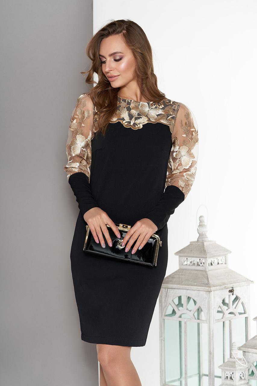 Нарядное платье ажурное с вышивкой черное