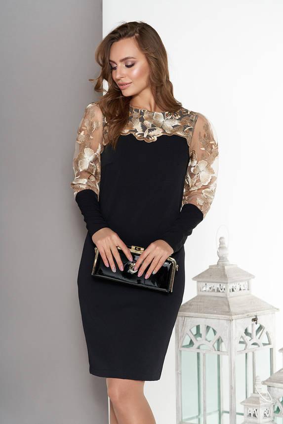 Нарядное платье ажурное с вышивкой черное, фото 2