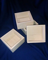 Коробочка береза 80*80 мм шкатулка заготовка для декупажа росписи без крышки