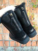 Угги женские short черные кожаные на змейке| Ugg Australia Short | Угги