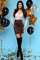 Шикарное Мерцающее Платье Мини Комбинированное Шоколадное S-XL, фото 1
