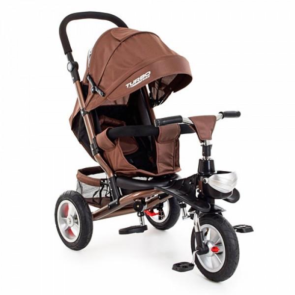 Трехколесный велосипед с регулируемой спинкой на надувных колесах, M 3647A-13 шоколад