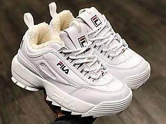 Женские зимние кроссовки с натур.мехом в стиле Fila Disruptor 2 White/Белые