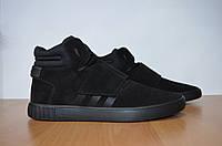 Кожаные кроссовки Adidas Tubular Invayder.Мужские кроссовки.Натуральная кожа.Реплика.