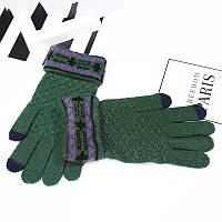 Зимние женские перчатки с сенсорными пальчиками и рисунком зеленые опт, фото 1