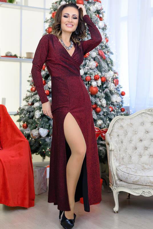 Бордовое платье с разрезом Валери
