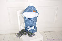 Стеганый демисезонный джинсовый конверт на трикотаже, цветочный, фото 1