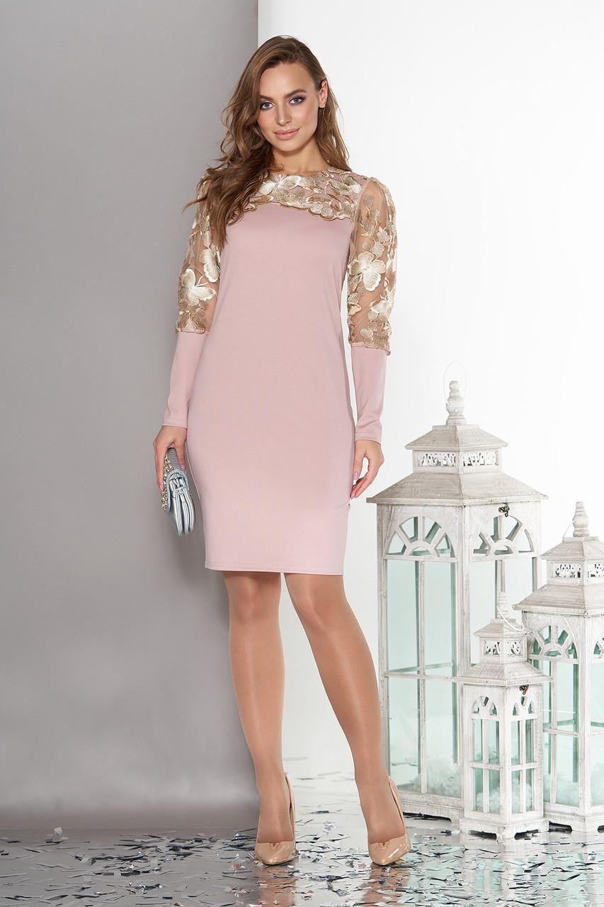 Нарядное платье ажурное с вышивкой пудра