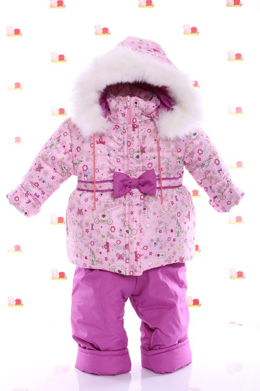 Зимний комбез на флисе (розовый с принцессой)