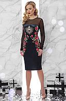 Шикарное велюровое платье с сеткой Розы-Сердце Платье Донна 1В Д/р скл.2