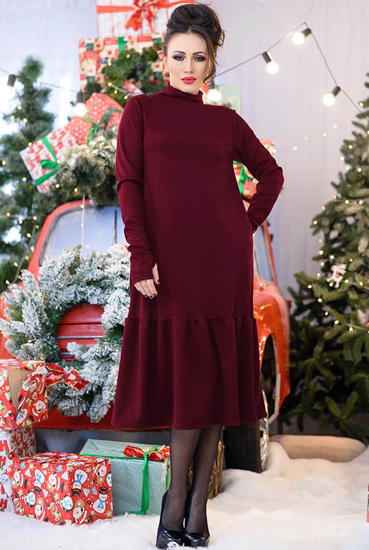 Оригінальне зимовий плаття Ліана, бордове
