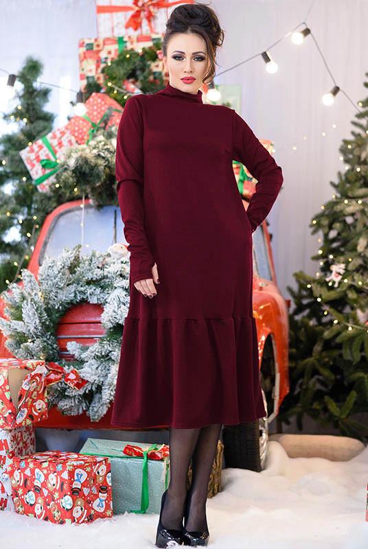 Оригинальное зимнее платье Лиана, бордовое