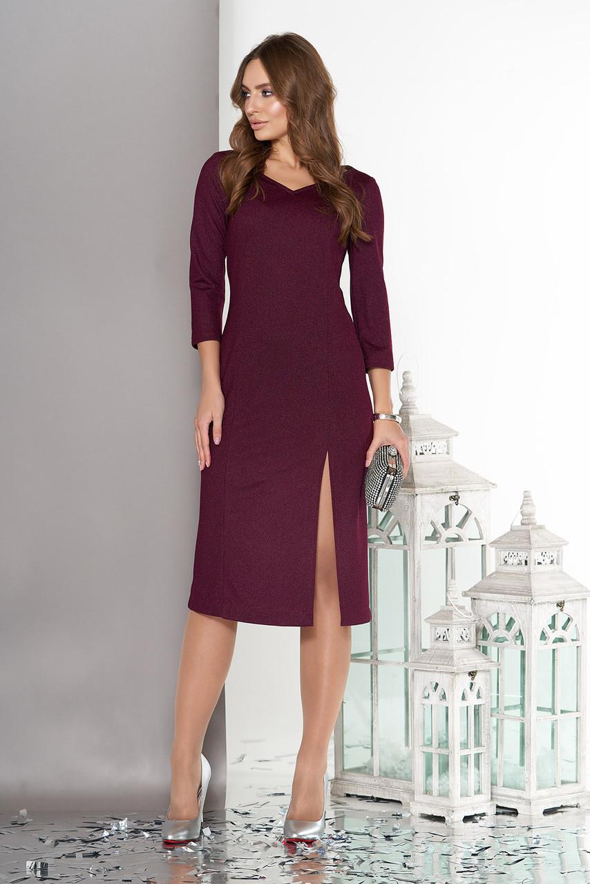 Трикотажное платье миди с рукавом 3/4 бордо