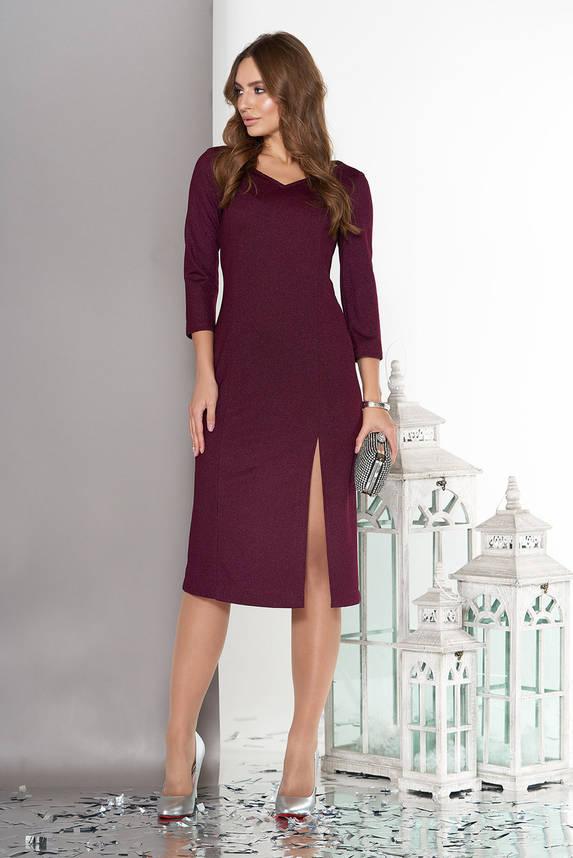 Трикотажное платье миди с рукавом 3/4 бордо, фото 2