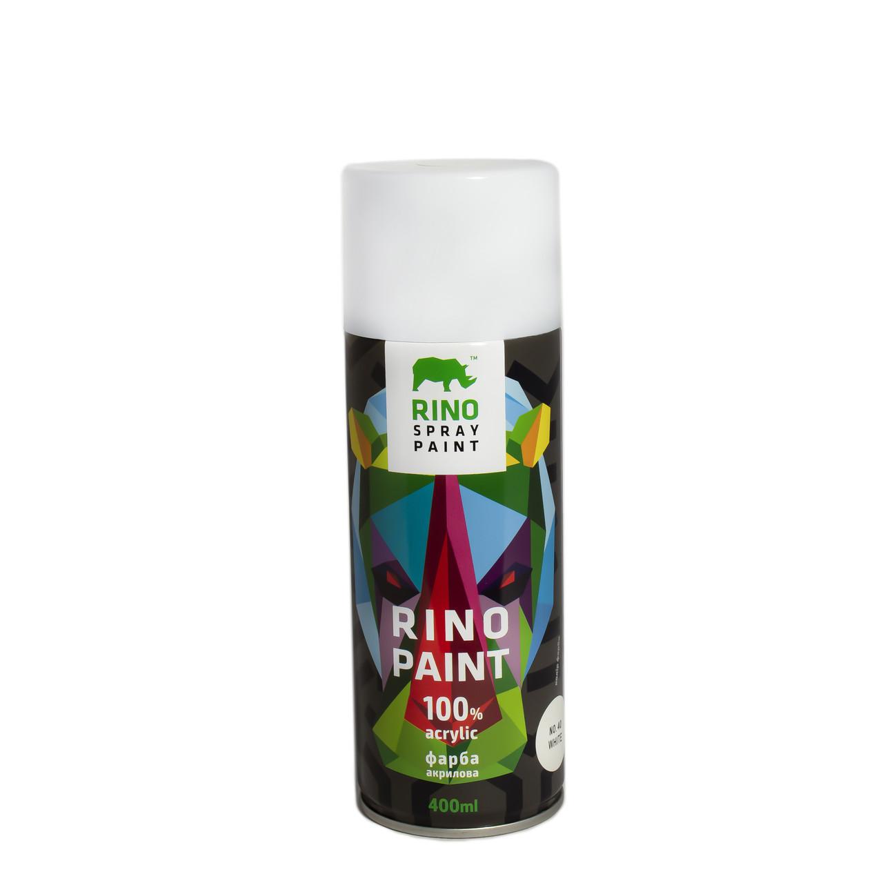 Универсальная акриловая аэрозольная эмаль  Rino Paint Белый 400 мл (40)