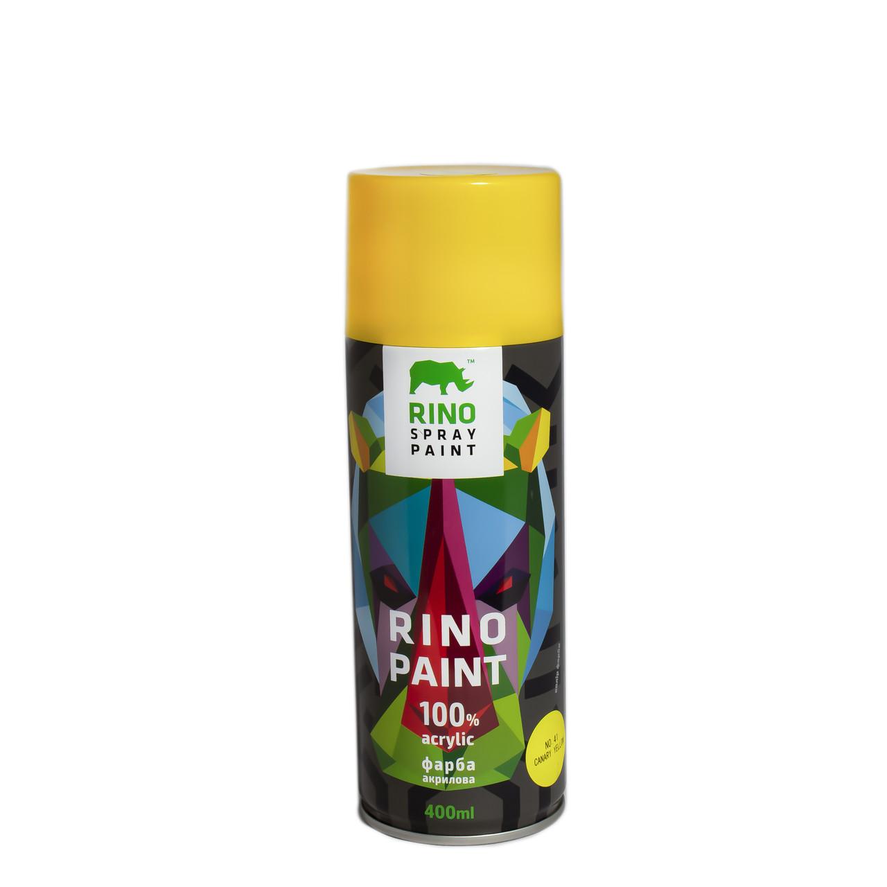 Универсальная акриловая аэрозольная эмаль  Rino Paint Жёлтый 400 мл (41)