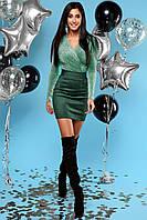 Шикарное Мерцающее Платье Мини Комбинированное Изумрудное S-XL, фото 1