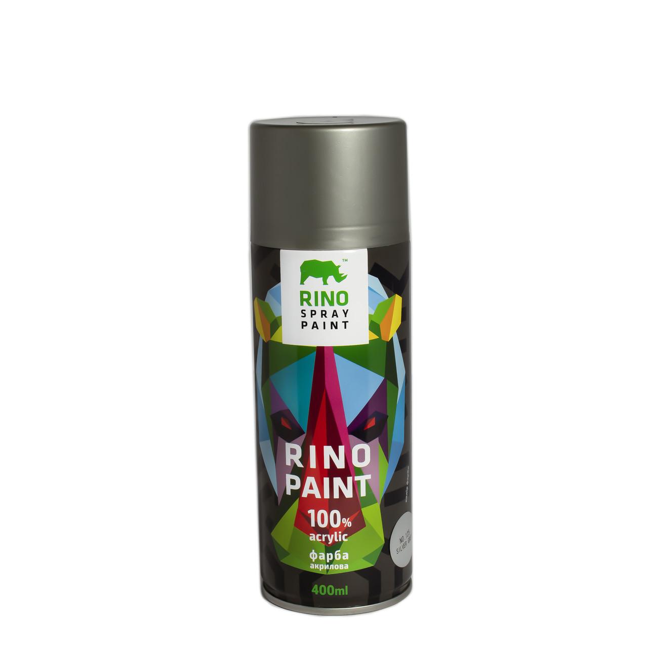 Универсальная акриловая аэрозольная эмаль  Rino Paint Серое серебро 400 мл (125)