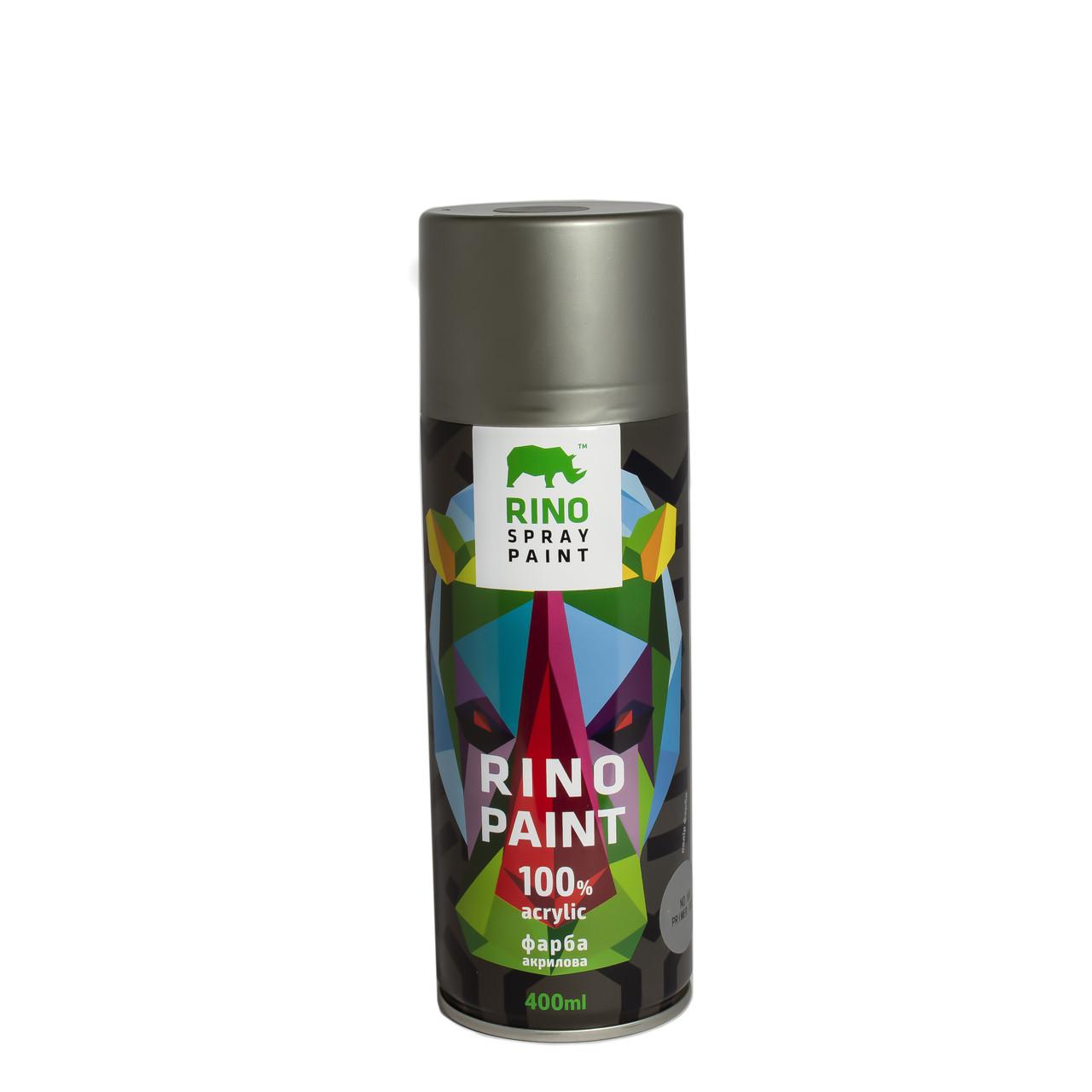 Универсальная акриловая аэрозольная эмаль  Rino Paint Грунт серый 400 мл (68)