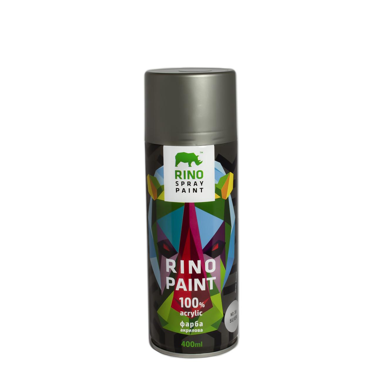 Универсальная акриловая аэрозольная эмаль металлик Rino Paint Metallic Серебряный 400 мл (36)