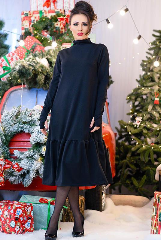 Черное женское платье - гольф Лиана