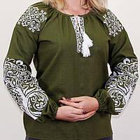 Женская вышитая блузка Ольга с орнаментом Дерево зеленая, фото 1