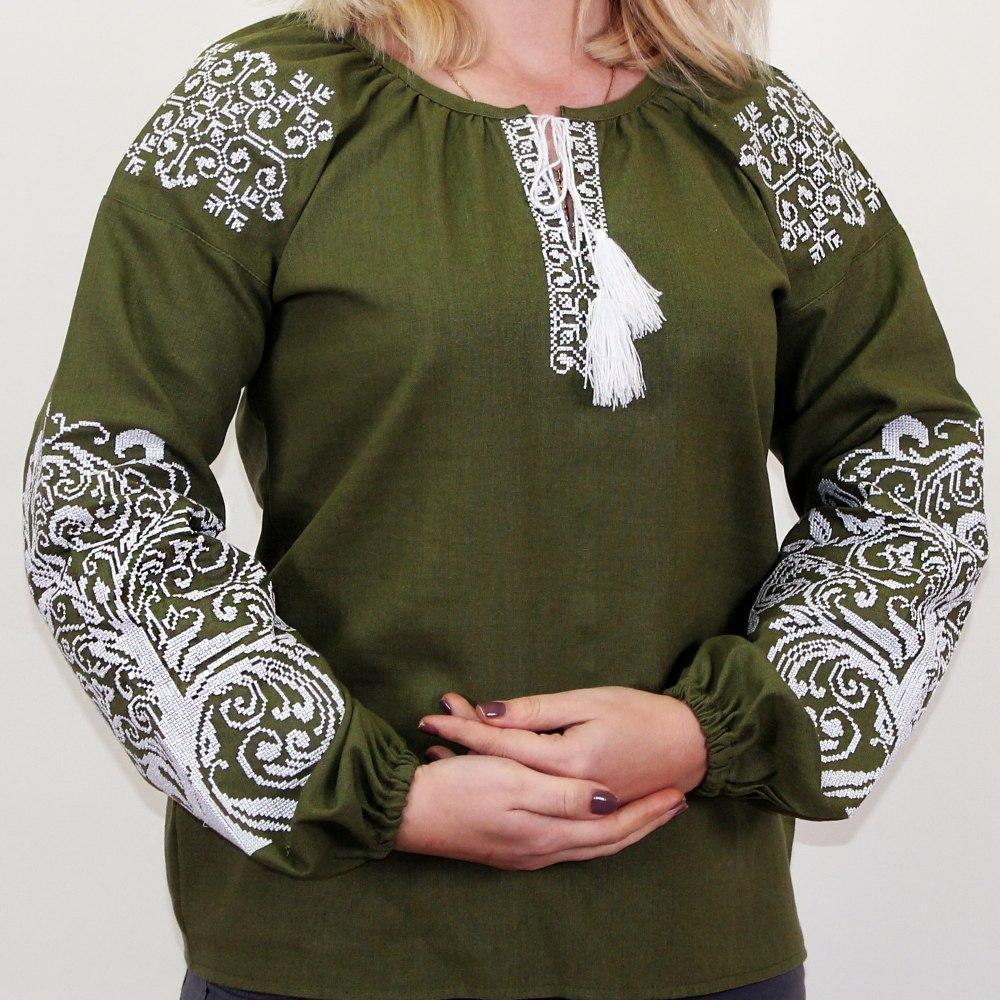 Женская вышитая блузка Ольга с орнаментом Дерево зеленая
