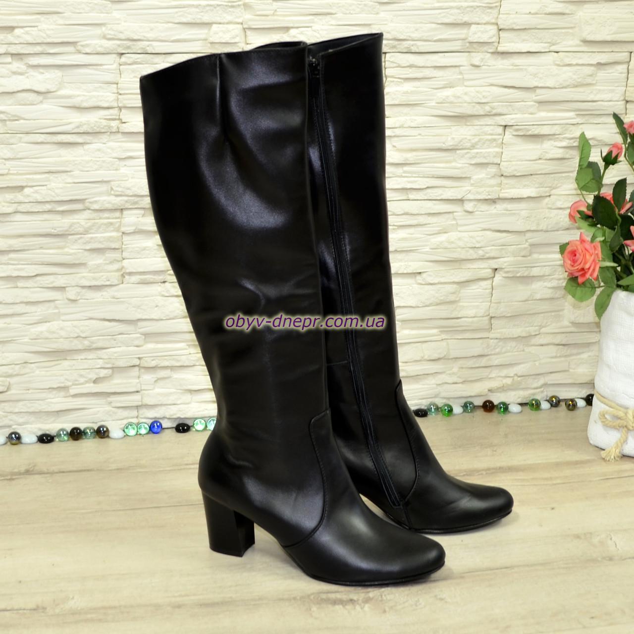 Сапоги женские кожаные зимние на каблуке