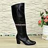 Сапоги женские кожаные демисезонные на каблуке, фото 2