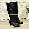 Сапоги женские кожаные демисезонные на каблуке, фото 4