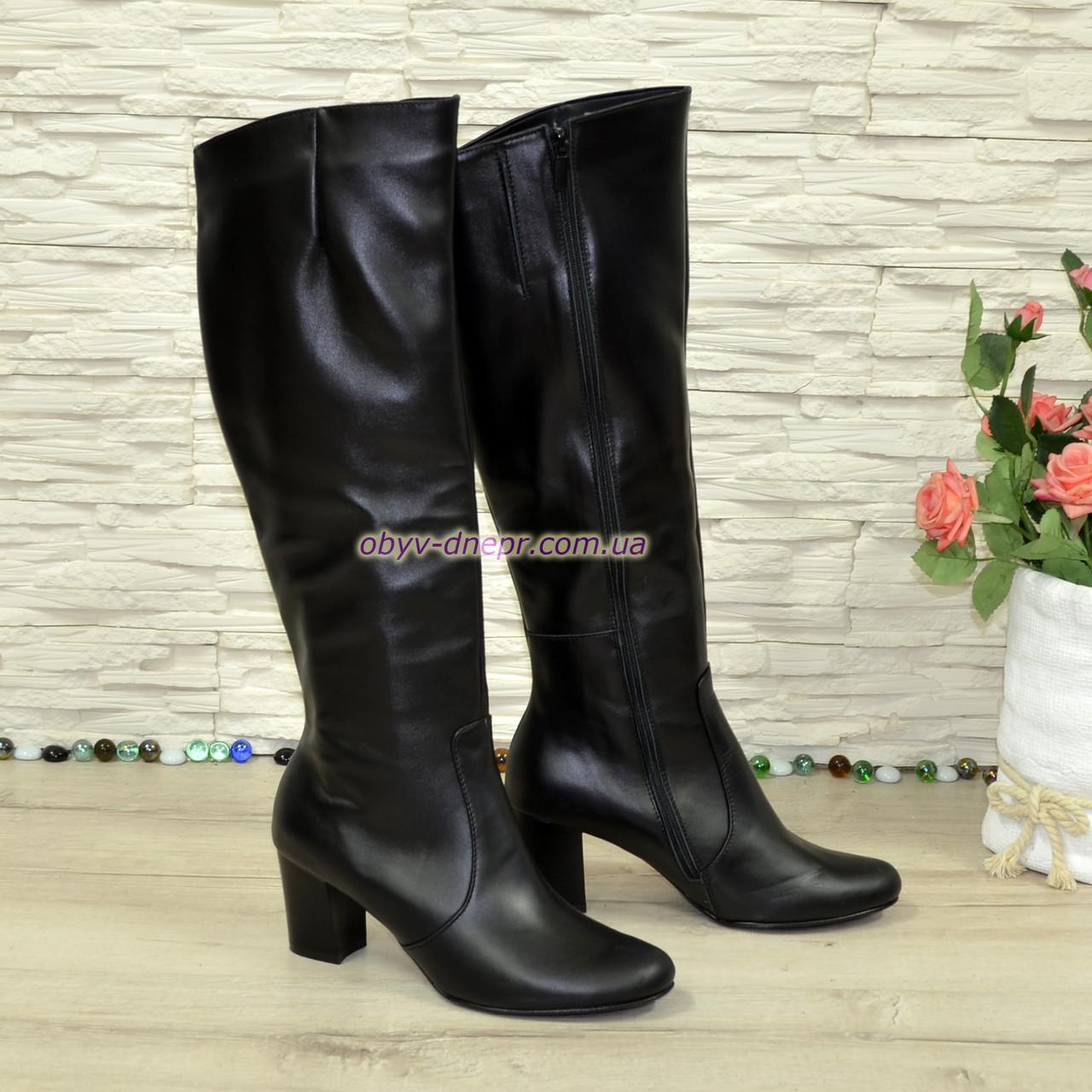 Сапоги женские кожаные демисезонные на каблуке
