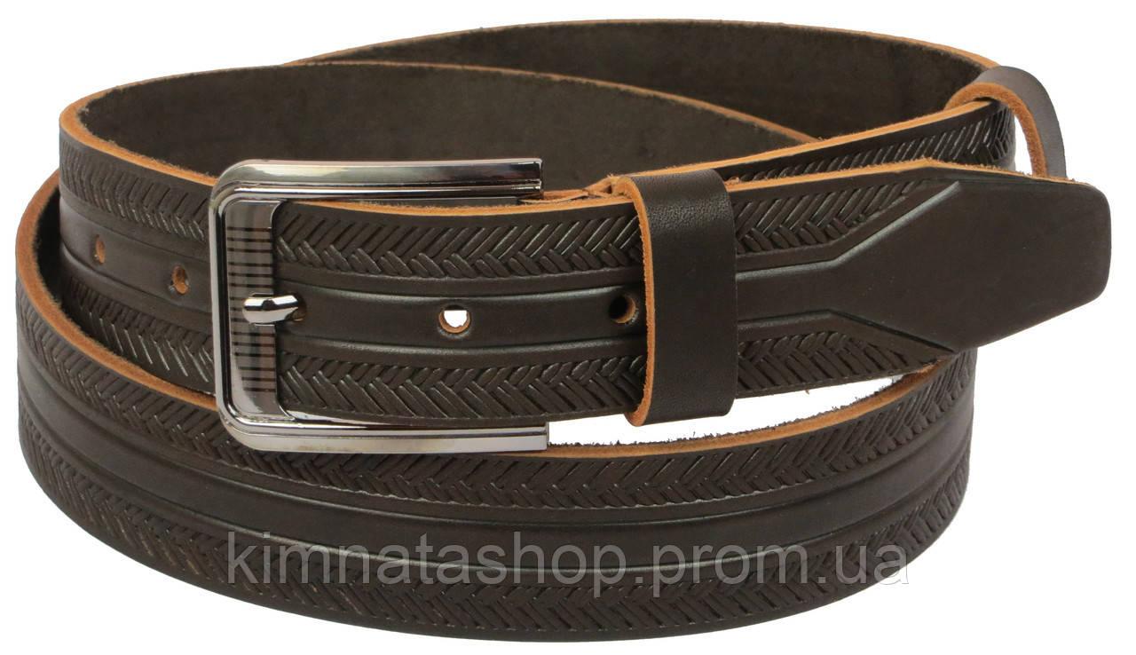 Мужской кожаный ремень под джинсы Skipper 1137-38 коричневый ДхШ: 128х3,8 см.