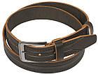 Мужской кожаный ремень под джинсы Skipper 1137-38 коричневый ДхШ: 128х3,8 см., фото 2