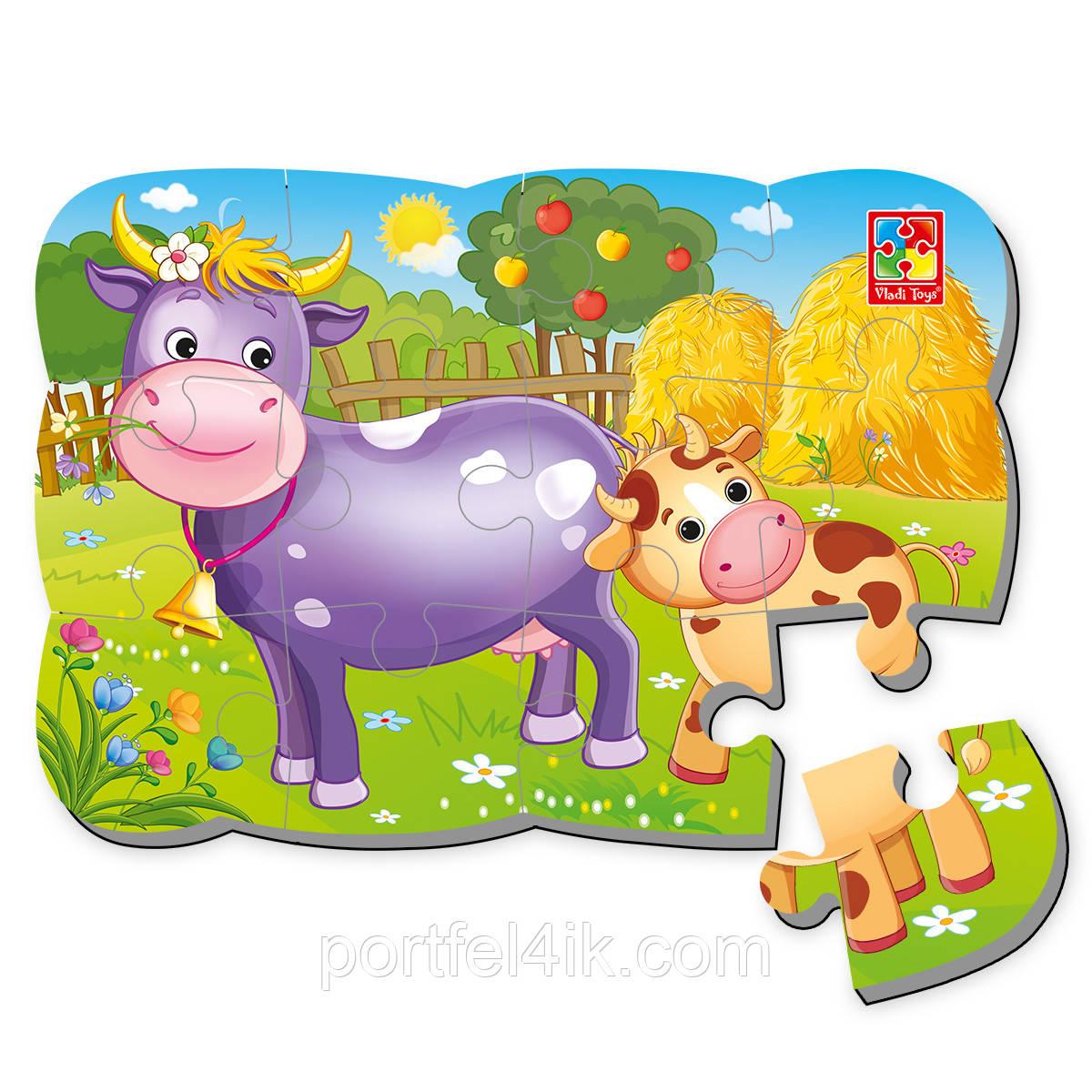 Пазл на магните «Корова и теленок»