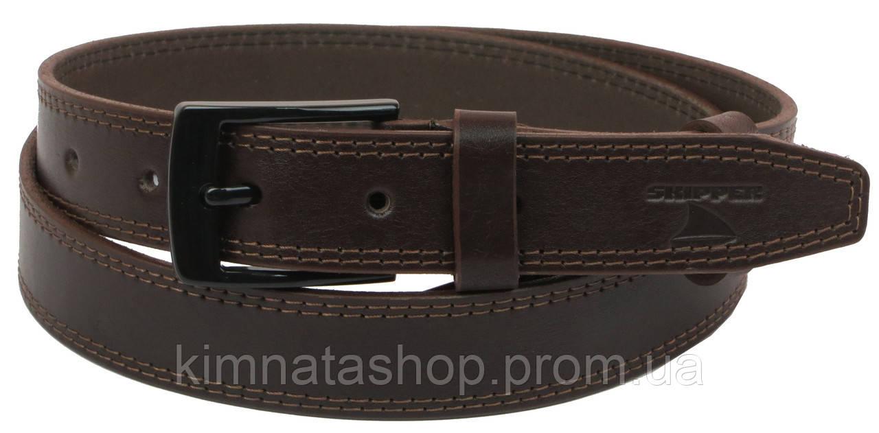 Мужской кожаный ремень под брюки Skipper 1145-33 коричевый ДхШ: 130х3,3 см.