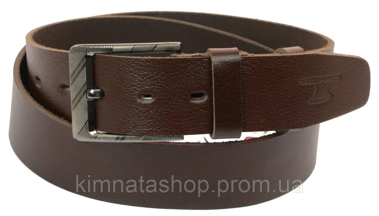 Чоловічий шкіряний ремінь під джинси Skipper 1157-45 коричневий ДхШ: 138х4,5 див.