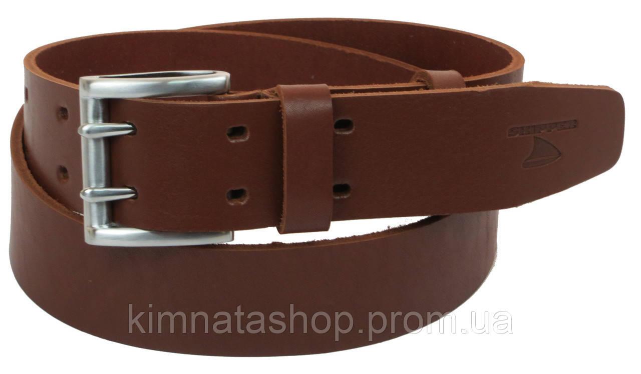 Мужской кожаный ремень под джинсы Skipper 1175-45 коричневый ДхШ: 129х4,5 см.