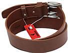 Мужской кожаный ремень под джинсы Skipper 1175-45 коричневый ДхШ: 129х4,5 см., фото 3